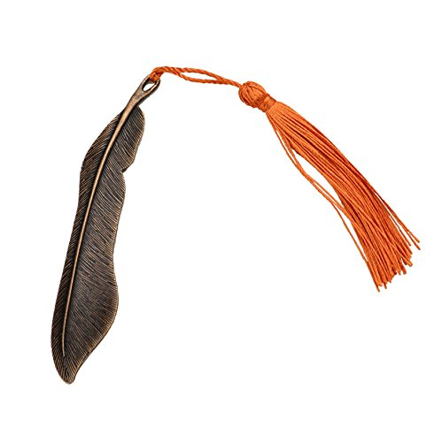 10pcs Classical Delicacy Antique Copper Feather Shape Metal Beading Bookmark with Handmade Silky Tassels (Antique Copper)