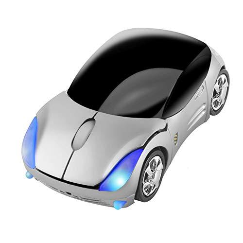 3C Kingdom Cool Sport Auto Gestalten Maus 2.4GHz Kabellos Auto Maus Ultra klein Optisch Maus Mini Office Mäuse für PC Computer Laptop Kinder oder Mädchen (Silber)