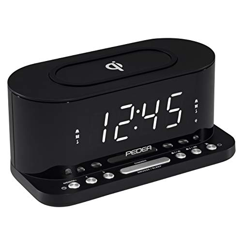 PEDEA FM Radiowecker mit induktiver QI-Ladefunktion und dimmbarem Display, Snooze, Dual Alarm und Sleep-Timer, schwarz