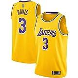 BAOZU Gold -Camiseta de baloncesto Davis Los Sportssweat Angeles Sudadera Anthony Poliéster #3 Swingman Jersey Icon Edition-L