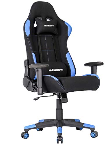 Gaming Chair Ergonomic Computer Game Chair Seat Height Adjustment Recliner Swivel Rocker E-Sports Office Chair with Headrest and Lumbar Pillow (Fabric, Blue Without Footrest) chair gaming