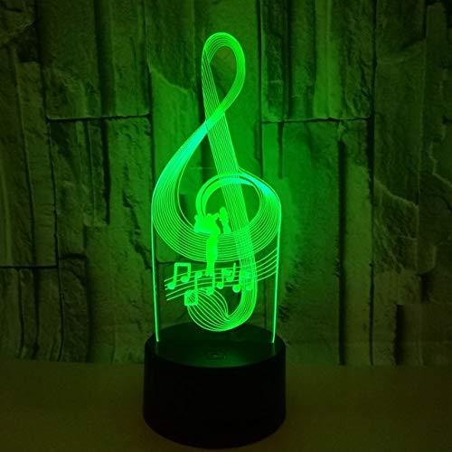3D LED lámparas Nota de la musica dance ilusion optica luz de noche 7 colores Contacto Arte Escultura luces con cables USB Lampara Decoracion Dormitorio escritorio mesa para niños adultos