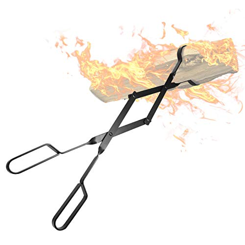 "Amagabeli Fireplace Log Tongs 26"" Heavy Duty Indoor Firewood Tongs"