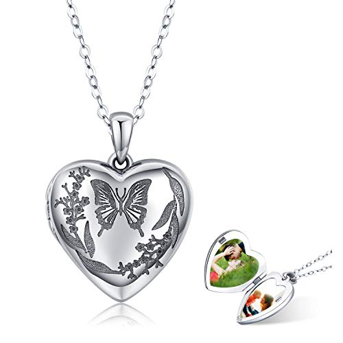 """Kette Frauen Herz Schmetterling Foto Medaillon Halskette 925 Sterling Silber Anhänger\""""vergessen Sie mich nicht\"""" Schmuck Frauen Geschenk für Damen für Frauen Paare Familie Mutter"""