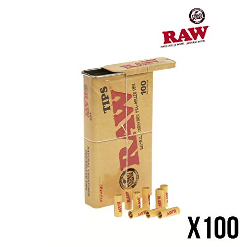 RAW pre-Rolled Tips Metal Tin vorgerollte Tips in Metalldose 1 Tin Case (100 Tips)