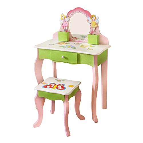 HSTD Kids Vanity Set Wooden Dressing Table With Cushioned Stool And Free Make-Up Organizer Wooden Bedroom Furniture for Children Girls (Pink + Green, Round Mirror)