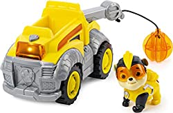 CONSTRUCTION TRUCK TOY WITH LIGHTS AND SOUNDS: Rubble's truck is ready for mighty action! Knock down obstacles with the wrecking ball and push the button to activate lights and sounds – the vehicle's accents light up as it makes exciting sound effect...
