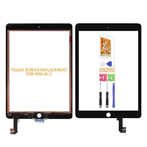 For Ipad 6 Air 2 A1566 A1567 Touch Screen Replacement Digitizer Glass Assembly Kits Free tempered film, glue and tools,Not LCD Screen. (Black)