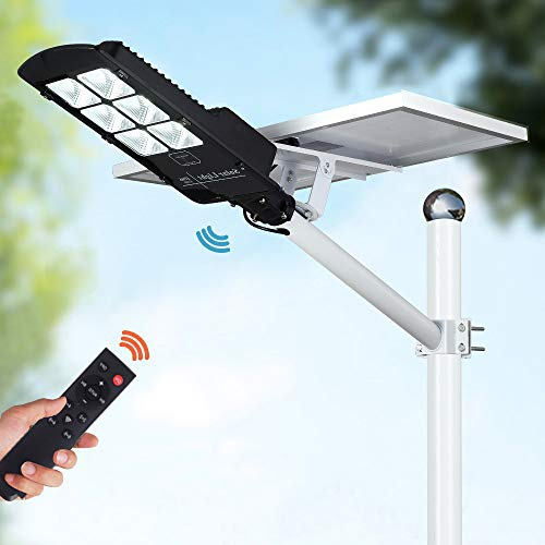 300W LED Solar Street Lights, Outdoor Dusk to Dawn Pole Light with Remote Control, 252 LEDs, Waterproof, Ideal for Parking Lot, Pathway, Yard, Road and Garden (Cool White)