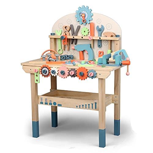 LYXCM De Herramientas para Niños Pequeños, Banco De Trabajo De Madera para Juegos De Herramientas para Niños | Taller De Construcción De Juguetes Educativos para Niños A Partir De 3 Años