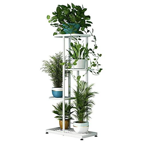 Soporte de metal para plantas con 4 niveles y 5 macetas, varios estantes, organizador de almacenamiento para interiores y exteriores,...