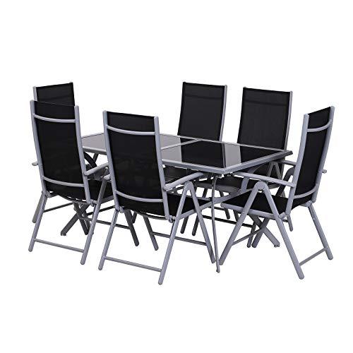 sedie da giardino outsunny Outsunny Tavolo da Esterno con 6 Sedie Pieghevoli in Ferro e Tessuto di Texilene