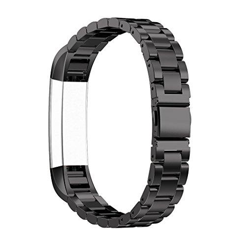 Bracelet Fitbit Alta HR, Rosa Schleife®Montre Connectée Bracelet Femme Acier Inoxydable avec Métallique Sport Band Straps Wristband pour Fitbit Alta/HR Fitness Tracker d'activite (No Tracker)-Noir