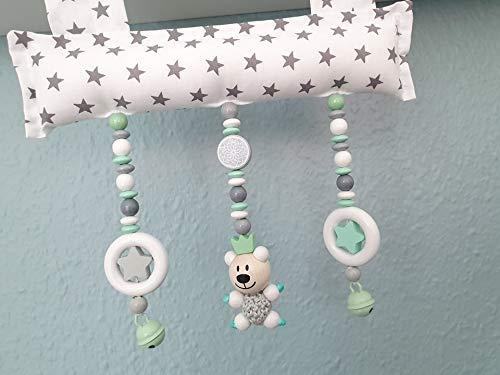 Baby Mobile Clip für den Tragegriff der Babyschale oder Wippe (Weiß, Grau, Mint, Sterne, Teddy)