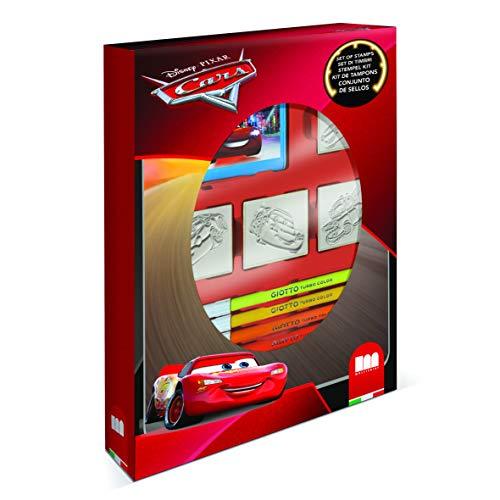 Multiprint Box 4 Timbri per Bambini Disney Cars, 100% Made in Italy, Set Timbrini Bimbi Personalizzati, in Legno e Gomma Naturale, Inchiostro Lavabile Atossico, Idea Regalo, Art.27823