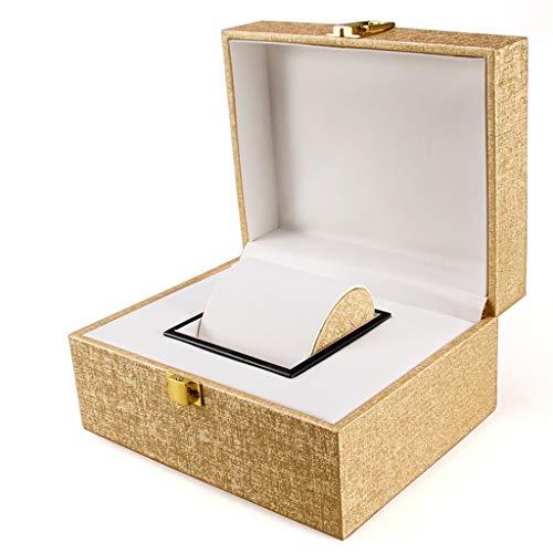 Aiglen 1 Rejilla Caja De Reloj De Cuero PU Caja De Reloj Organizador Caja De Almacenamiento Para Relojes Cajas De Joyería Mostrar El Mejor Regalo (Color : Gold)
