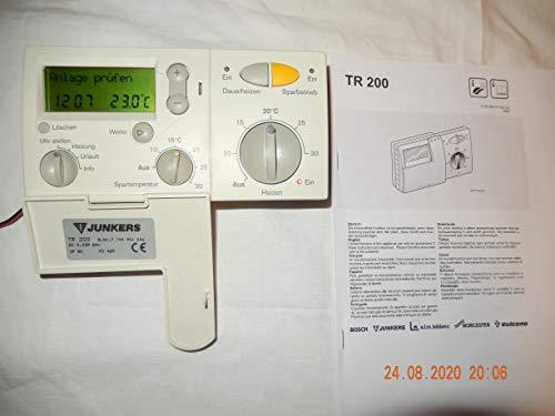 JUNKERS TR 200 CERACONTROL Raumtemperaturregler 7744901046 mit Wandhalterung und PDF Handbuch, geprüft, in TOP Zustand