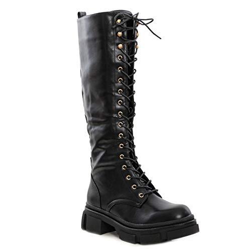 Toocool Botas de mujer Anfibi Biker con cordones y cordones ML65 Negro Size: 41 EU