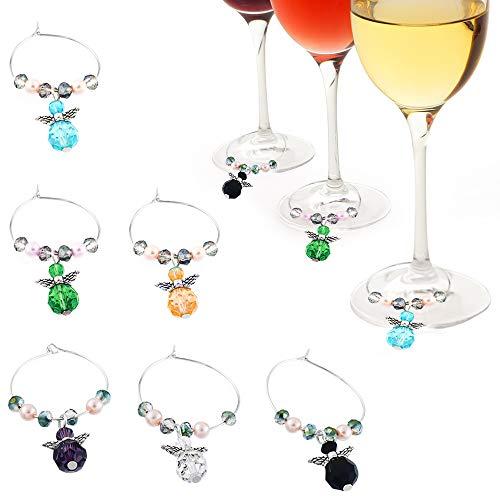 Gresunny 6pcs marcatori per Bicchieri da Vino segnabicchieri Charms per Bicchieri ciondoli per distinguere i Bicchieri da Vino Anelli per pennarelli per Bicchieri da Vino per Bar Feste Decorazioni