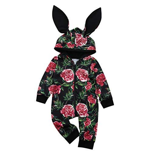 Bébé Fille Bébé Garçon Bodys Combinaisons Barboteuse à Capuche Jumpsuit Impression de Fleurs Oreilles de Lapin Vêtements pour Enfants Manteau Veste Outerwear Coats