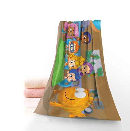 chinawh Toalla Personalizada de Anime Bubble Guppies con Estampado de algodón para la Cara/Toallas de baño, Tela de Microfibra para niños, Hombres, Mujeres, Toallas de Ducha 70x140cm