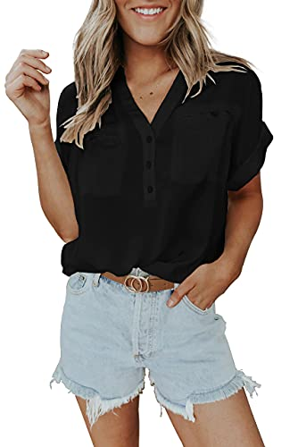 Women Button Down V Neck Shirts Short Sleeve Blouse Roll Up Cuffed Sleeve Casual Work Plain Tops with Pockets Black