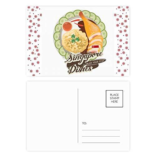 Singapore Hainanese Kip Rijst Kerstmis Bloem Postkaart Thanks Card Mailing 20 stks
