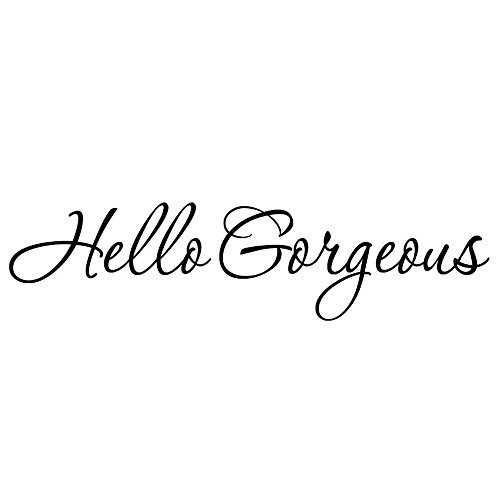 VWAQ Hello Gorgeous Wall Decal Inspirational Quotes Mirror Sticker 1619