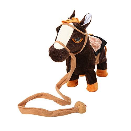 PerGrate Elektrisches gehendes Pferdplüsch spielt batteriebetriebenes Plüschtier Kinder Spielzeug