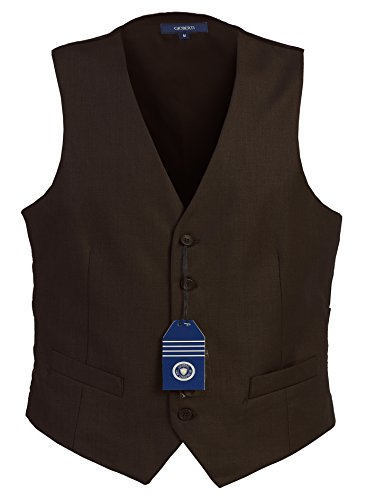 Gioberti Mens 5 Button Formal Suit Vest, Brown, 2X-Large
