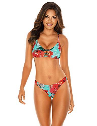 RELLECIGA Women's Strappy Triangle Bikini Top with Cheeky Brazilian Cut Bikini Bottom (X-Large, Blue Floral)