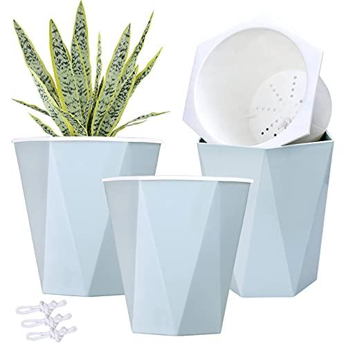 3pcs 7.8' Self Watering Pots Flower Pots Indoor Planters Garden Pots Modern Blue Planter Pot For Orchid, Herb, African Violet, Succulents, Plant, Etc.