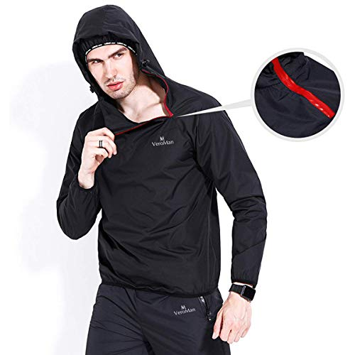 VEROMAN Sauna Suit Jacket and Pants Exercise Gym Workout Fitness Weight Loss Body Shaper for Men Black 2XL