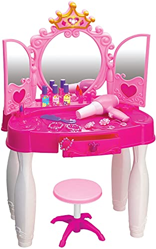 Play22 Pretend Play Girls Vanity Set with Mirror and Stool 20 PCS  Kids Makeup Vanity Table Set with Lights and Sounds  Kids Beauty Salon Set Includes Fashion Hair amp Makeup Accessories amp Blowdryer