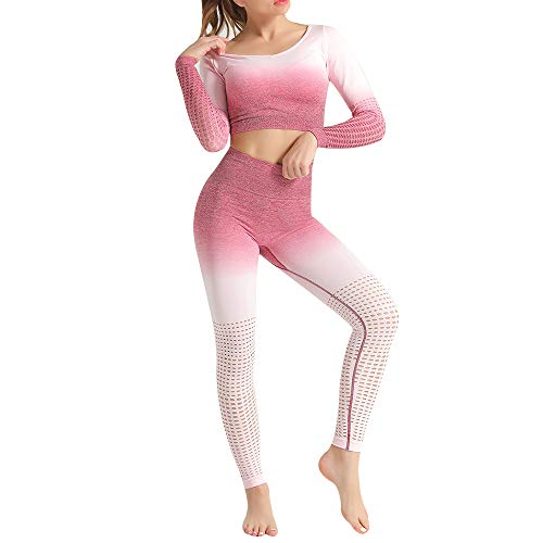 Vertvie Sportpak voor dames, 2-delig, joggingpak, hoge taille, elasticiteit, fitness, hardlopen, crop top met leggings, Active wear