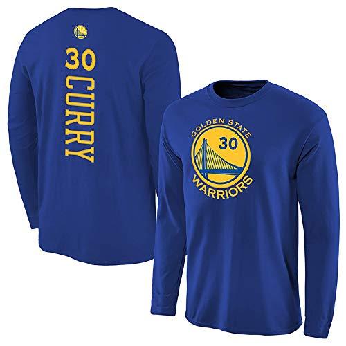 Camiseta De Baloncesto De Manga Larga para Hombre, NBA Golden State Warriors 30# Stephen Curry Activewear Camiseta Suelta Y Suave, Uniforme Deportivo para Aficionados,Azul,S