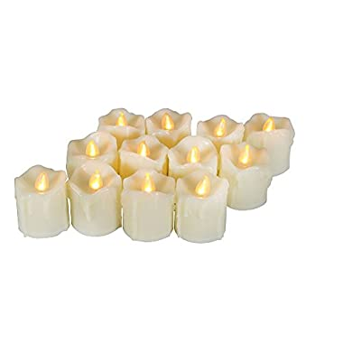 EcoGecko 12 Piece Flameless LED Battery Votive Candles with Timer Realistic Flickering Battery Operated Votive Candles Size-1.5 (D) x2(H) with Drips Long Lasting Batteries Included 12-Pack