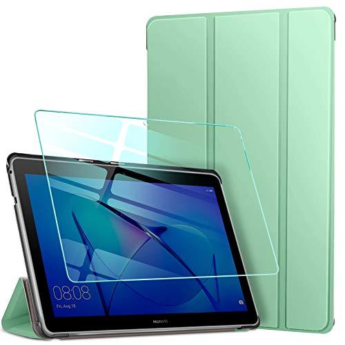 AROYI Funda Compatible con Huawei Mediapad T3 10 y Protector Pantalla, Carcasa Silicona TPU Smart Cover Case con Soporte Función para Huawei MediaPad T3 10 (9,6 Zoll) (Menta Verde)