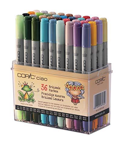 Copic Ciao Zeichenmarker, leuchtende Farben, 36 Stück