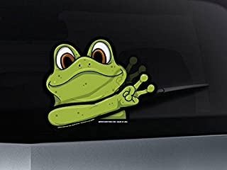 Peace Frog Waving WiperTags with Decal for Rear Vehicle Wipers