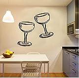 Dos copas de vino Champagne Etiqueta de la pared de la cocina...