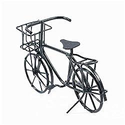 EatingBiting 1:12 Dollhouse Miniature Furniture Accessories Black Metal Bicycle Bike Vintage Style with Basket Mini Bike Bicycle Miniature Doll House Desktop Ornament Toy