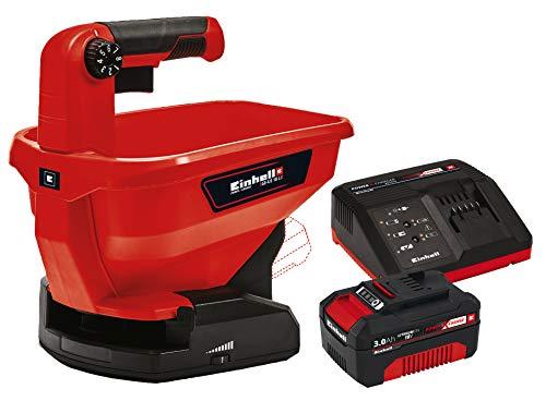 Einhell 3415410 GE-US 18 Li-Solo Universal Streuer, rot, schwarz + Original Starter Kit Akku und Ladegerät Power X-Change (Lithium Ionen, 18 V, 3,0 Ah Akku, passend für alle Power X-Change Geräte)