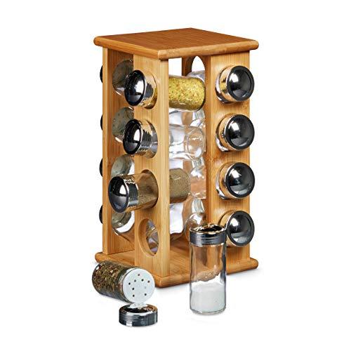 Relaxdays 10020317 Porta Spezie con 16 Barattoli in Vetro, Espositore per Condimenti, HBT: 30 x 19,5 x 19,5 cm, Legno Naturale, Marrone