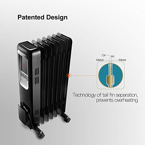 Aireplus Space Heater, 1500W Oil Filled Radiator Electric Heater with Digital Adjustable Thermostat, 24 Hrs Timer & Remote, Portable Oil Heater with Tip Over & Overheat Protection for Full Room Indoor