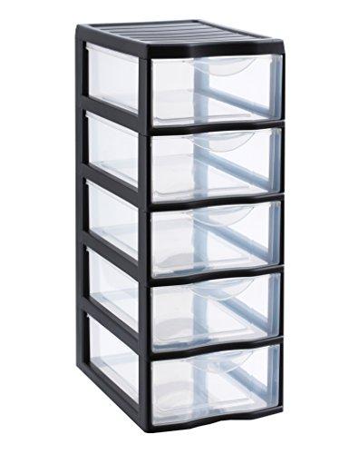 SUNDIS 4288009 Tour de Rangement Format A4 5 tiroirs avec Poignée ergonomique Système dArrêt à lOuverture, Plastique, Noir