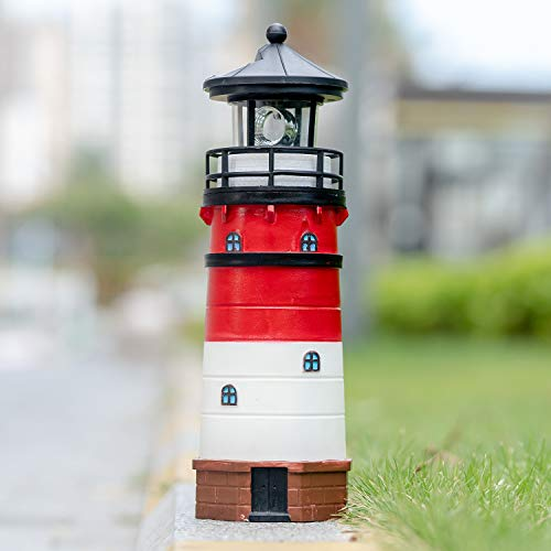 Garden Solar Lights Outdoor Decorative - Lighthouse with Rotating Beacon LED Lights for Garden Yard Outdoor(White)