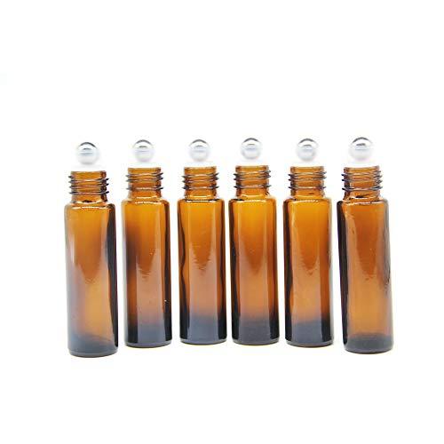 Yizhao Braune Roll On Flasche Leer 10ml, Roll-on Glasflaschen Klein mit Edelstahl-Roller Ball,fürÄtherisches Öl,Aromatherapie-Gemische,Parfüm,Massage – 6Pcs