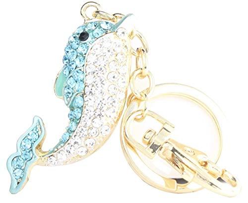 Quadiva Bag Charm Delphin - Delfin - Taschenanhänger für Damen (Farbe: Gold/blau/weiß) mit Kristallen besetzt