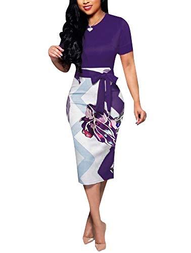 Women' Short Sleeve Bodycon Dress - Cute Bowknot Floral Pencil Dress (XX-Large, Purple)